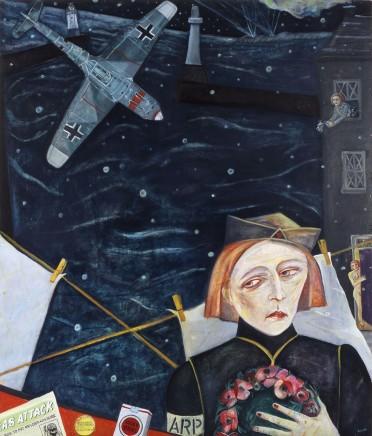 """Joyce W Cairns """"Messerschmitt Over Footdee"""" (Oil on ply, 152cm x 122cm)"""