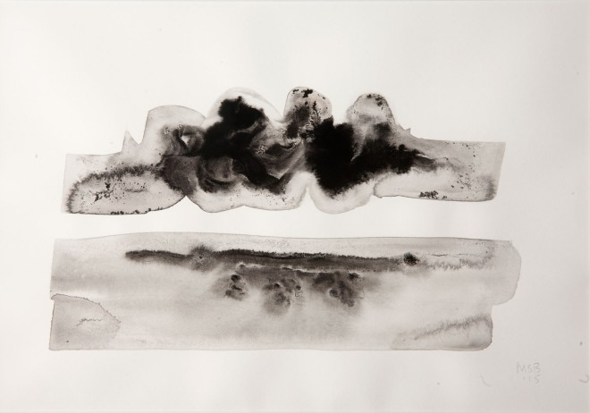 """Mary Bourne """"Cloud Mass Over the Sea"""" (Ink wash on paper)"""