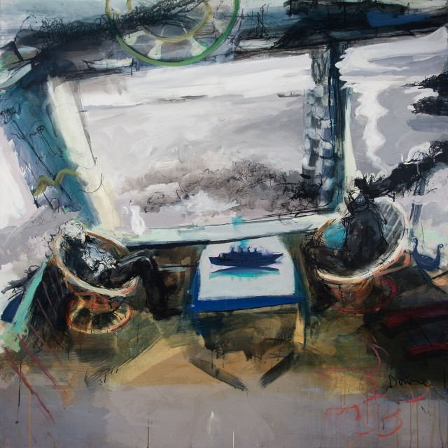 """Kate Downie """"The America Ship"""" (acrylic and ink on canvas, 167cm x 160cm)"""