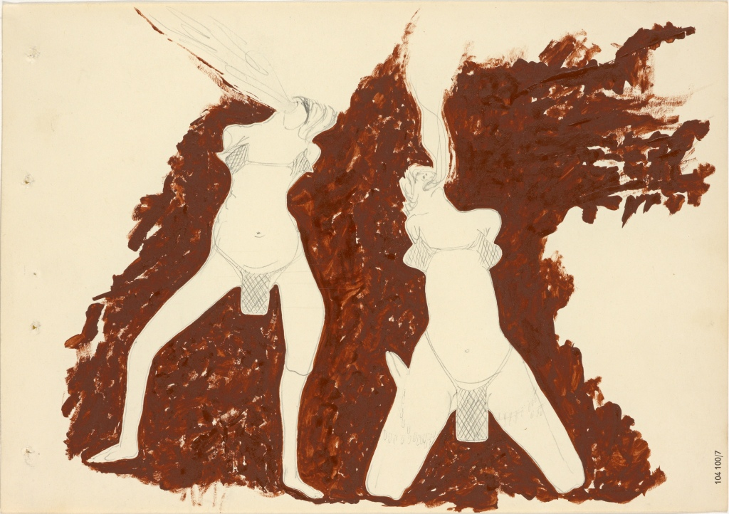Joseph BEUYS (1921–1986) Witches Spitting Fire, 1959,Graphite and oil paint on paper, 20.70 x 29.70 cm.ARTIST ROOMS National Galleries of Scotland and Tate. Acquired jointly through The d'Offay Donation with assistance from the National Heritage Memorial Fund and the Art Fund 2008© DACS 2016.
