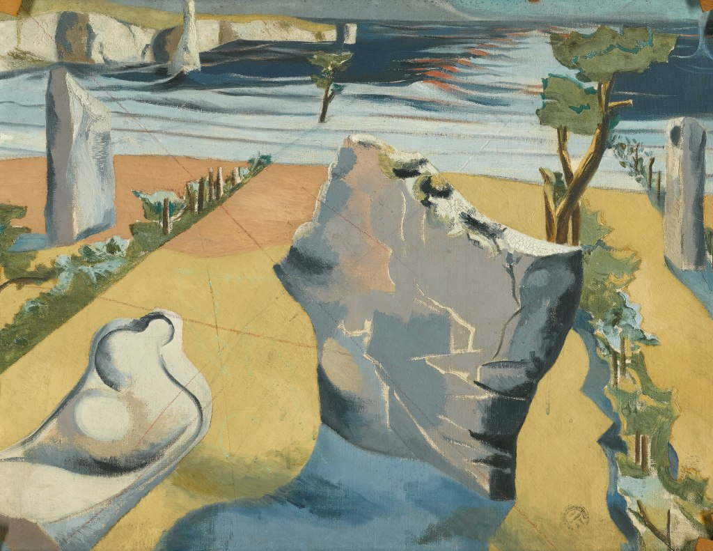 Paul Nash, Circle of the Monoliths c.1937–8, Verso: The Two Serpents (1937-8, Oil paint on canvas, 710 x 920 mm, Private collection.)