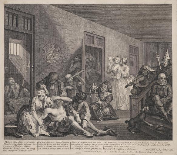 """""""The Rakes Progress"""" Plate 8 Scene from Bedlam with Britannia, William Hogarth 1763 c Trustees of the British Museum."""