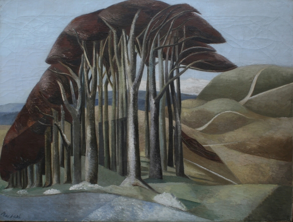 Paul Nash. Wood on the Downs.(1930, Oil paint on canvas, 715 x 920 mm,Aberdeen Art Gallery & Museums Collections. Purchased in 1960 with income from the Murray Fund.)